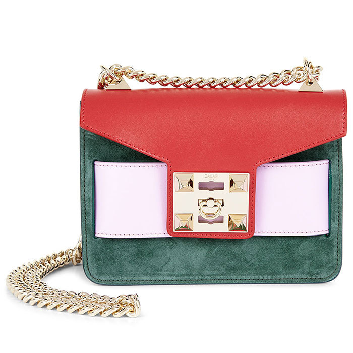 "<strong>Colour Block Chain Shoulder Mila Bag</strong>, $595, <a href=""http://avenue32.com"" target=""_blank"">avenue32.com</a>"