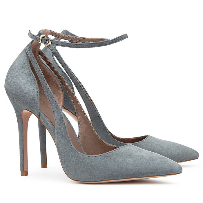 "<strong>Marla Suede Ankle-Strap Shoes in Moss</strong>, $330, <a href=""http://reiss.com"" target=""_blank"">reiss.com</a>"
