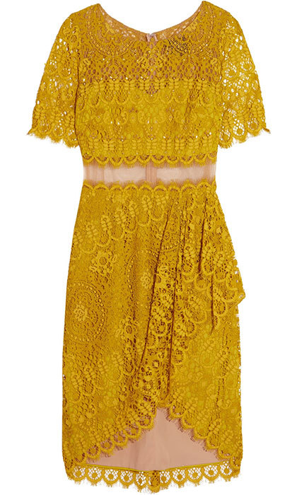 "<strong>Marchesa Notte Draped Asymmetric Lace Dress</strong>, $524, <a href=""http://theoutnet.com"" target=""_blank"">theoutnet.com</a>"