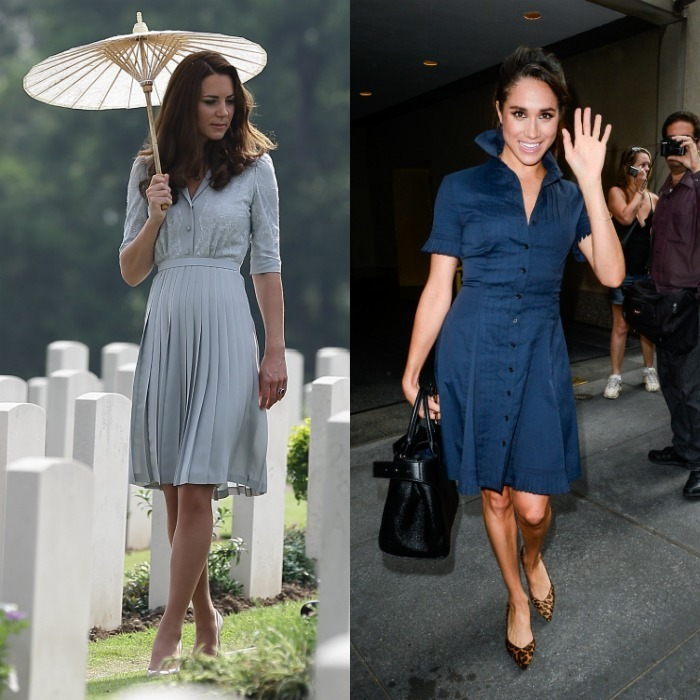 Shirt dress Kate elected to wear a bespoke piece by Jenny Packham that featured a lace overlay and full pleated skirt for her 2012 visit to the Kranji War Memorial. Meghan on the other hand, opted for a more casual look sporting a button down with frilled sleeves for a 2016 taping of the Today Show. 