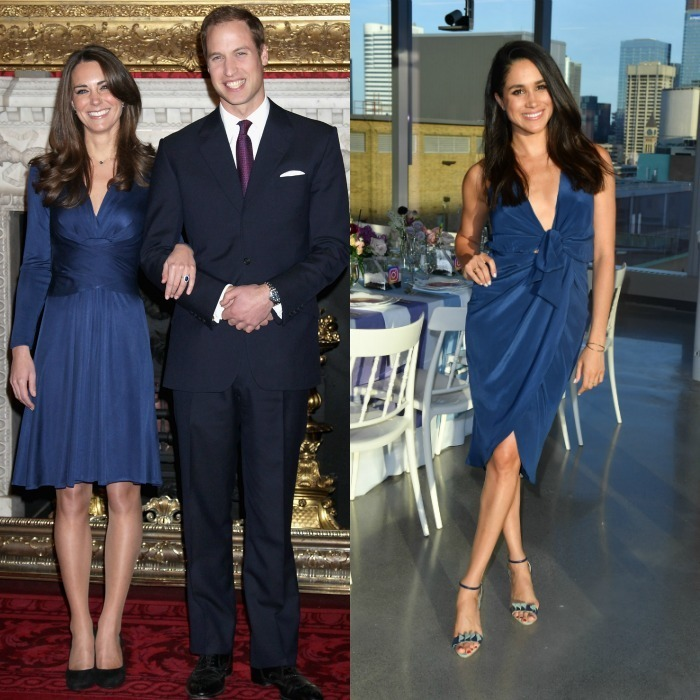 Wrap dress Kate and Meghan were a pair of blue beauties, showing off their trim figures in wrap dresses. The Duchess opted for a regal long-sleeve frock by Issa to announce her engagement to William in 2010, while Meghan kept it cool and fresh wearing a sleeveless dress to a dinner in Toronto. 