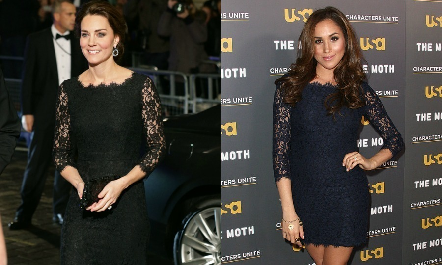 "Designer Great minds think alike! Kate and Meghan donned lacy Diane von Furstenberg dresses a few years apart. Prince Harry's girlfriend wore a shorter, navy version of the designer's ""Zarita"" dress to a 2012 USA Network event in Hollywood, while Prince William's wife donned a full-length black gown version for the 2014 Royal Variety Performance in London. 
