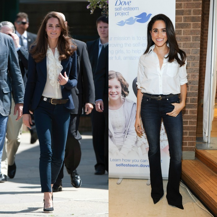 Denim Kate and Meghan were twinning, styling their blue jeans with belts and white blouses tucked in. While their denim looks are nearly identical, the Duchess topped off her polished look in 2011 with a navy Smythe blazer for an outing in Canada. 