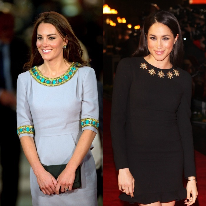 Embellished collars The Duchess and the Hollywood star added pizzazz to their red carpet looks with an embellished neckline. The stylish royal wore a sheath dress by Matthew Williamson that featured ornate beading and a peplum detail to the 2012 UK premiere of African Cats. Meghan sparkled in London a year later wearing a black dress with gold embellishments to the premiere of The Hunger Games: Catching Fire. 