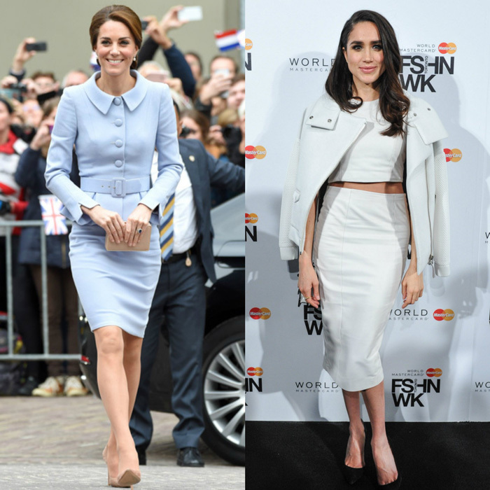 Skirt suit The Duchess of Cambridge exuded elegance in a periwinkle suit by Catherine Walker for her 2016 visit to the Netherlands, while the Suits star went for an edgy skirt look with a crop top and moto jacket draped over her shoulders for a fashion week event in Canada. 