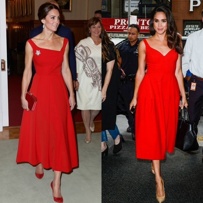 Ladies in red With their dark tresses, it's no surprise that both ladies can equally pull off a vibrant scarlet number as Kate did in this Preen number during her 2016 royal tour of Canada. That same year, Meghan looked radiant on the streets of New York sporting a similar style midi dress. <p>Photo: © Getty Images
