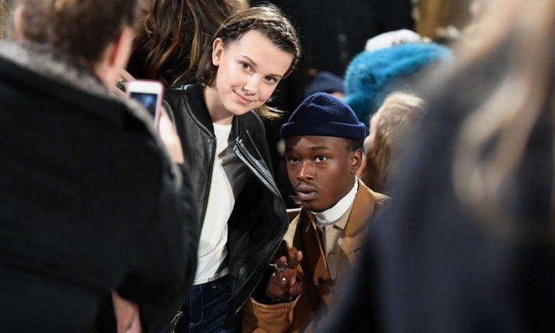 Millie Bobby Brown and Ashton Sanders at Calvin Klein 