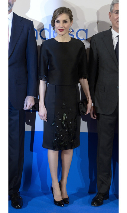 Queen Letizia of Spain stunned donning a black ensemble by Carolina Herrera for the Expansion newspaper's 30th anniversary dinner at Madrid's Palace Hotel.