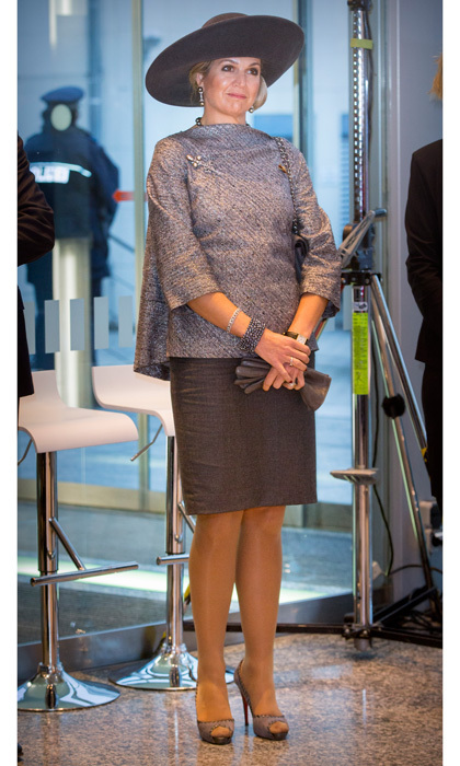 The Dutch Queen opted for an elegant swing blouse and pencil skirt for her outing to the High Tech Systems and Materials event in Weimar, Germany.