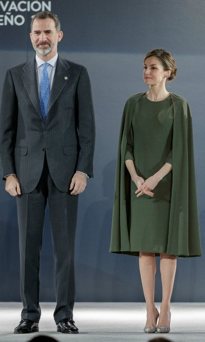 Queen Letizia wore an olive green cape dress during the Innovation and Design Awards in n Alcala de Henares, Spain. 