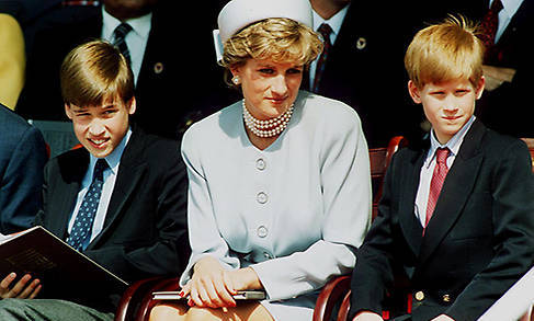 Princess Diana with her sons Prince William and Prince Harry at the Heads of State VE Remembrance Service in Hyde Park on May 7, 1995.