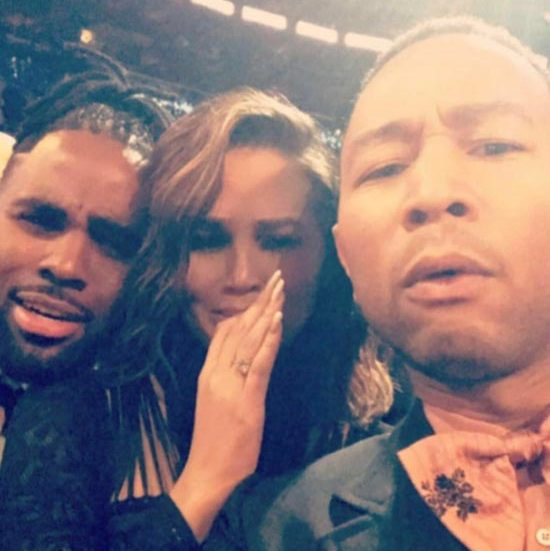 Chrissy Teigen shared a fun snap of herself with husband John Legend and the couple's friend Jason Derulo, as the trio were left floored by Beyoncé's performance.
