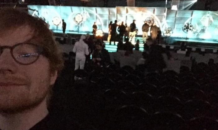 Ed Sheeran teased fans with a behind-the-scenes snap during his final rehearsals ahead of the ceremony.
