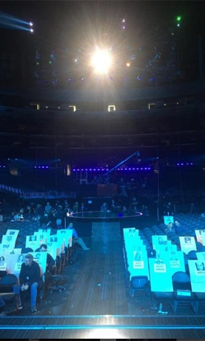 """No pressure!"" host James Corden quipped ahead of the ceremony, posting a photo of the empty hall during his final rehearsal.
