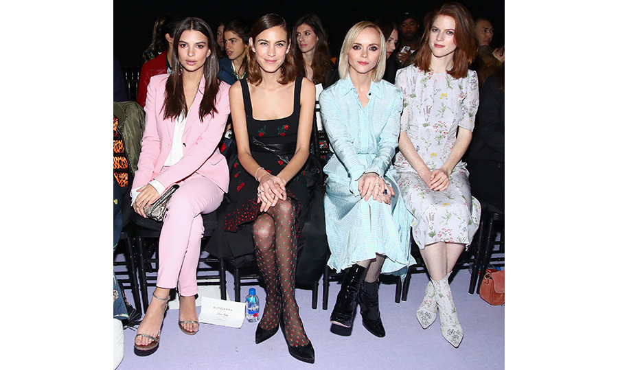 (L-R) Emily Ratajkowski, Alexa Chung, Christina Ricci and Rose Leslie at Altuzarra.