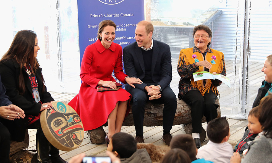 Their similar sense of humour was one of the reasons William and Kate fell for each other. The lovebirds are often pictured giggling, this time during a storytelling session at the MacBride museum in Canada.