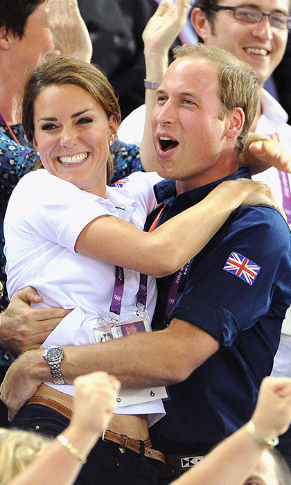 The couple shared a loving embrace while cheering on Team GB at London 2012.