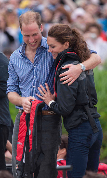 The royal couple shared a hug after competing against one another in a Dragon Boat Race in Canada in 2011.
