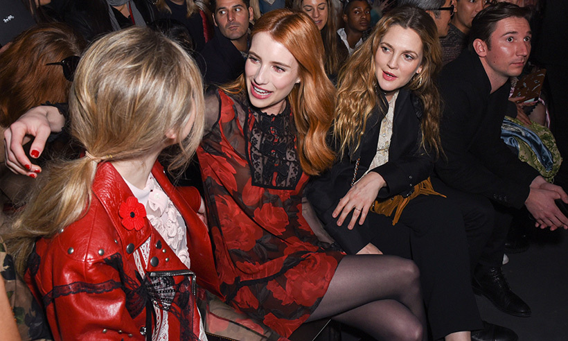 Emma Roberts and Drew Barrymore at Coach