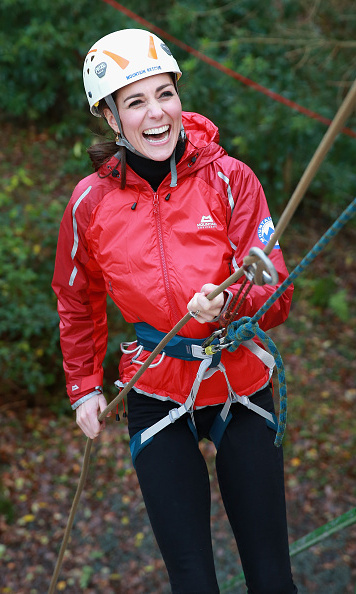 The stylish royal traded her designer labels for a harness to go abseiling with husband William in North Wales in 2015.