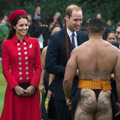 The royal couple didn't blink an eye while meeting a Maori warrior in New Zealand in 2014.