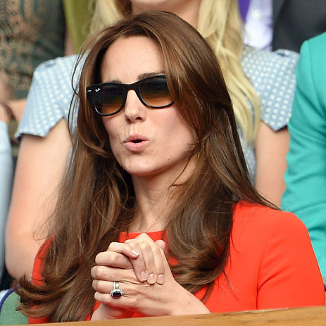 Kate couldn't handle the suspense during another outing to Wimbledon in 2015.