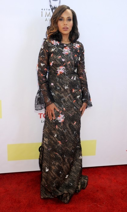 <strong>Feb. 11:</strong> Kerry Washington shimmered at the 48th NAACP Image Awards at Pasadena Civic Auditorium in California. The <em>Scandal</em> star, 40, walked the red carpet in a sheer charcoal dress with orange, white and black accents over a solid slip.