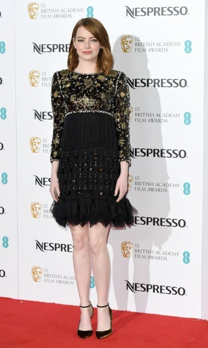 <strong>Feb. 11:</strong> Emma Stone fringed out at the BAFTA nominees party. 