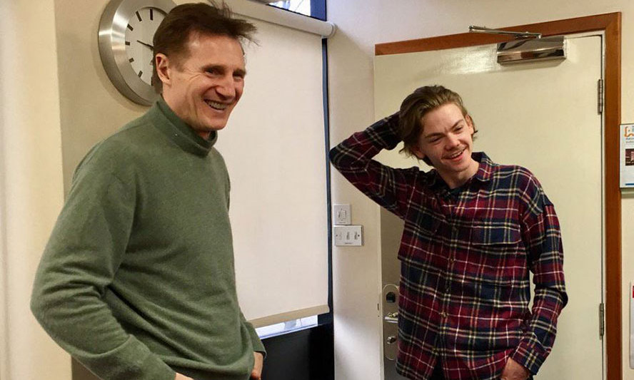 Liam Neeson and Thomas Brodie-Sangster seen preparing to film the sequel of <em>Love Actually</em>.