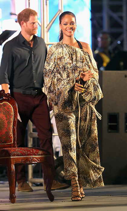 The singer wore an oversize maxi dress to welcome Prince Harry to Barbados in Nov. 2016. 