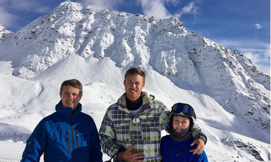 The royal family was joined by Mary's nephew Alexander Stephens, who posed with his uncle Crown Prince Frederik and cousin Prince Christian on top of a mountain in the Swiss Alps.