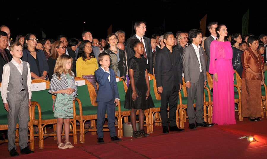 Angelina Jolie's children Maddox and Shiloh speak at Cambodian film premiere.
