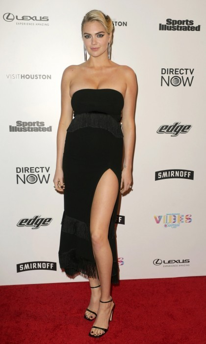 <strong>Feb. 17:</strong> Kate Upton also hit the VIBES festival carpet in Houston, Texas. The model got leggy in a chic black dress. 