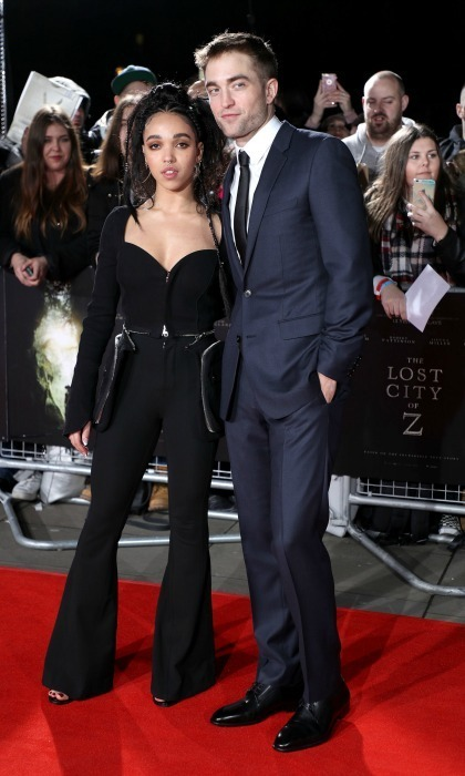 <strong>Feb. 16:</strong> Robert Pattinson and FKA Twigs were two stylish lovebirds at the <em>The Lost City of Z</em> premiere in London. 