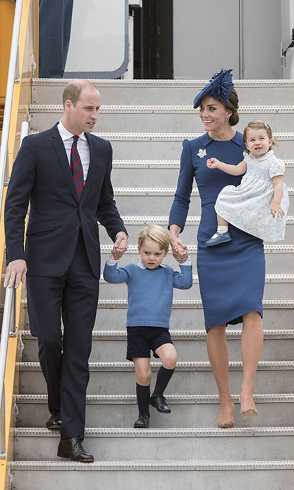 "In September 2016, Prince William and Kate brought their children with them on their tour of Western Canada. Upon their arrival in Victoria, both parents held Prince George's hand as Prince William instructed him to ""watch the step."" 
