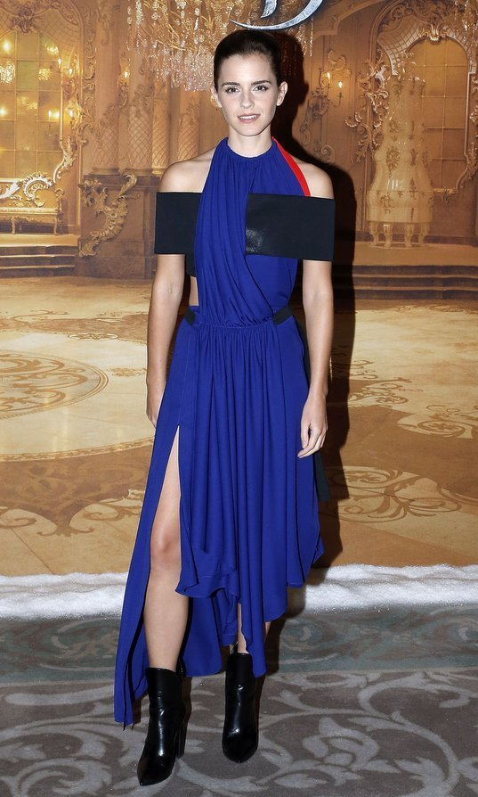 <strong>Feb. 20:</strong> Emma Watson brought a modern feel to a Paris photocall for her new film 'Beauty and the Beast' with an electric blue halter dress by Louis Vuitton.