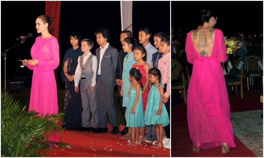 <strong>Feb. 18:</strong>Angelina Jolie stunned in a hot pink chiffon gown at the premiere of her new film, <em>First They Killed My Father</em>. The full-length number showcased her famous back tattoos. The actress was joined by her children and Cambodian royalty at the Elephant Terrace inside the Angkor park in Siem Reap.
