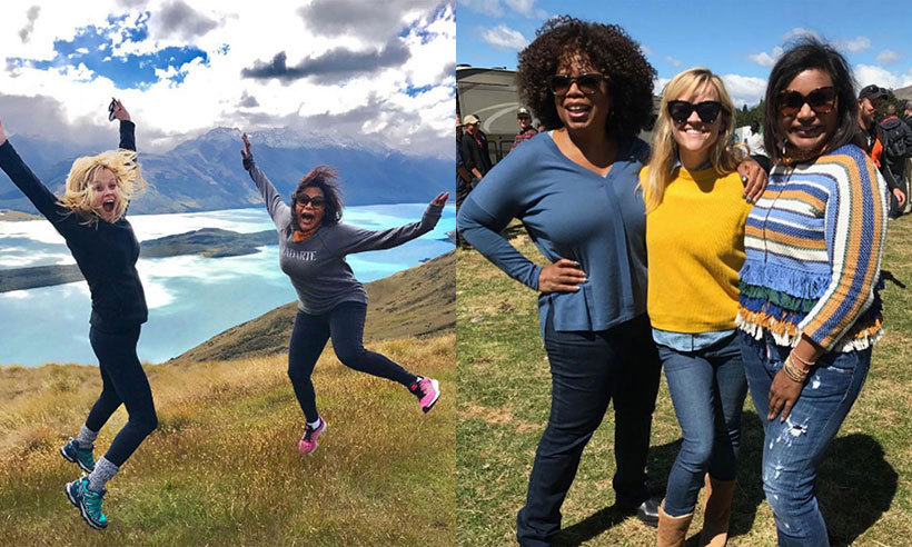 Reese Witherspoon, Oprah and Mindy Kaling have been giving their fans serious holiday envy as they enjoy a fun-filled road trip in New Zealand! <br><p>The trio have been sharing a series of snaps from their adventures and giving their social media followers a sneak peek of their antics. So far, their glamorous getaway has included a trip to Lake Hawea near Wanaka – where they are staying – as well as seeing local wildlife, sipping on wine in a hot tub and goofing around as they take in the breathtaking scenery.</p> It's not all fun and games for the actresses, who have travelled to New Zealand to film the upcoming Disney film <em>A Wrinkle in Time</em>. Oprah will play Mrs. Which, Reese Mrs. Whatsit and Mindy Mrs. Who in the highly-anticipated film, which also stars 13-year-old Storm Reid, Chris Pine and Gugu Mbatha-Raw. <p>We take a look at some of the best moments from their trip so far – but be warned, you may get a case of wanderlust!