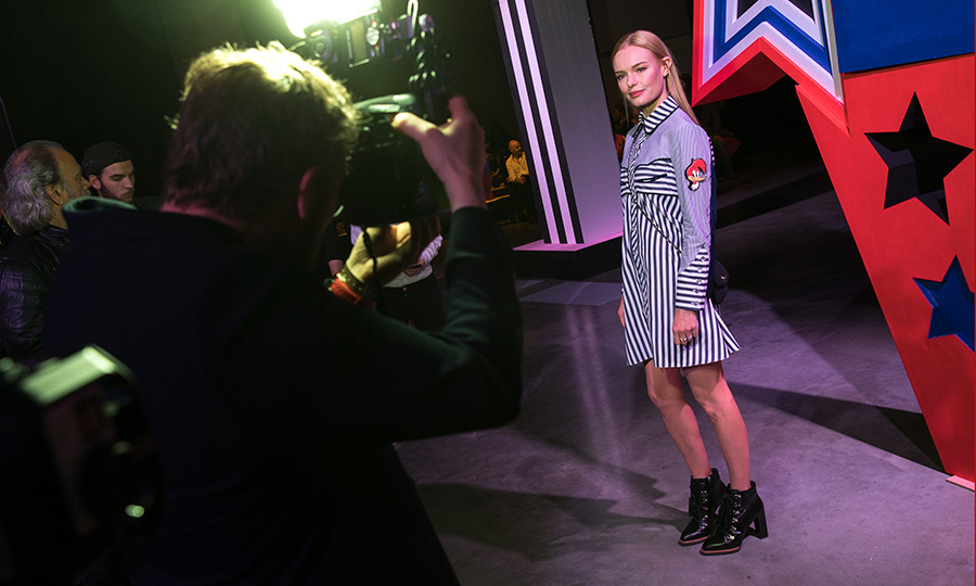 Kate Bosworth was stunning in stripes at the Henry Holland catwalk show at Tate Modern.