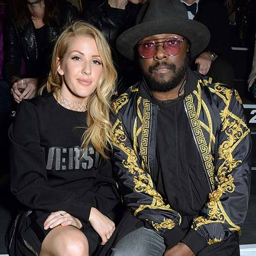 It was quite the meeting of musical minds as Ellie Goulding and Will.I.Am sat front row to take in the Versus Versace show on Saturday. The pair both kept it simple in black ensembles.