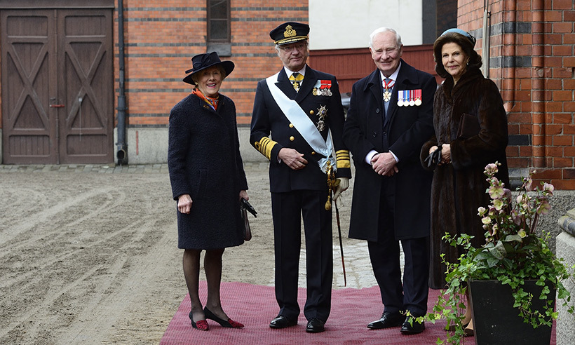 Governor General David Johnston and wife Sharon (left) are greeted by King Carl XVI Gustaf and Queen Silvia at the Royal Palace of Stockholm. 