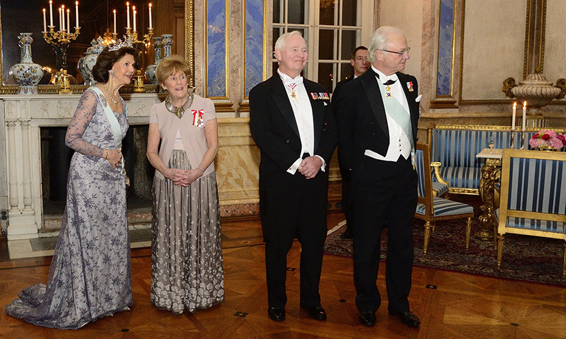 David and Sharon at the palace with their royal hosts. <p>Photo:  © Sgt Johanie Maheu, Rideau Hall © OSGG, 2017