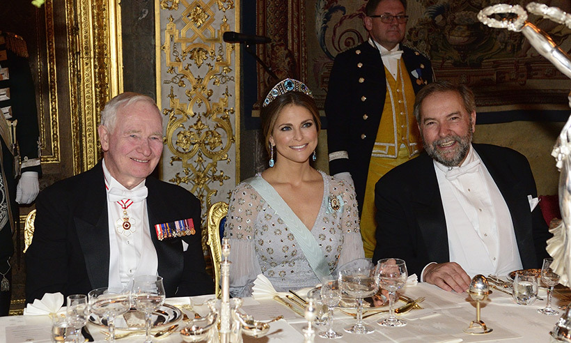 David Johnston, Princess Madeleine and NDP Leader Thomas Mulcair at the state banquet. 