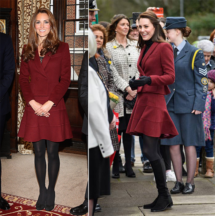 On Feb. 22 2017, Kate stepped out in her burgundy Paule Ka skirt suit for an engagement in Wales (Right). Unlike the first time she wore to two-piece ensemble back in 2012, the mother of two slipped a black turtleneck under the double-breasted jacket and accessorized with knee-high boots and gloves. 