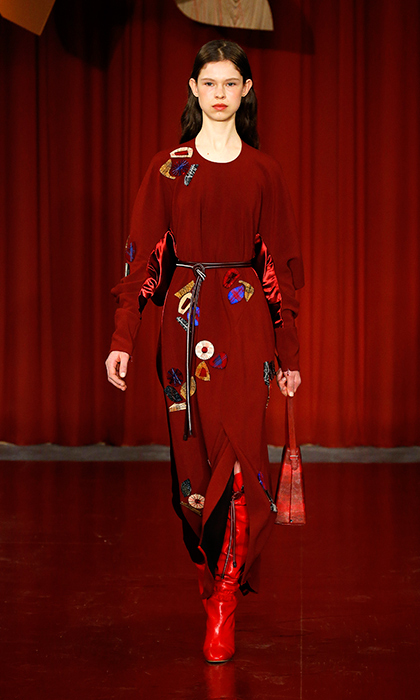 Roksanda Ilinčić sent so many gorgeous, rich colours down the runway this season, and while Kate might be inclined to reach for her go-to blue, this autumnal red would look stunning on her. The abstract patchwork flowers are a nice nod to her love of floral prints, too.