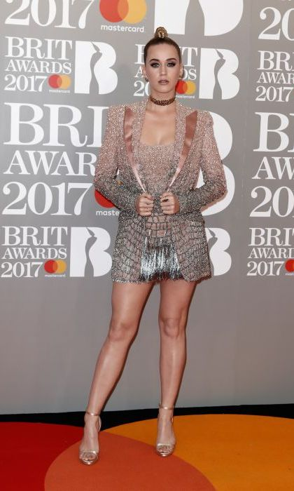 All eyes were on Katy Perry in this shimmering metallic mini dress and co-ordinating tuxedo jacket. The <em>Chained to the Rhythm</em> singer, who was performing at the ceremony, topped off the look by tying her newly blonde hair back into intricate buns.
