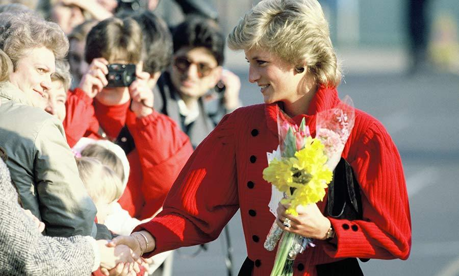Princess Diana shakes hands with members of the public during an engagement in 1989.