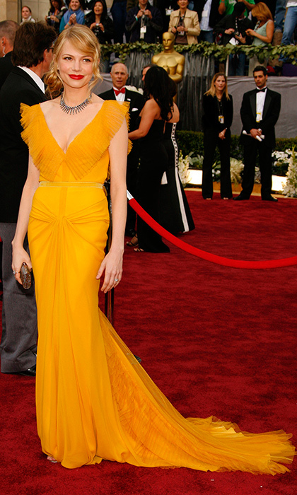 <strong>Michelle Williams in Vera Wang, 2006</strong><br><br>Michelle did it first, and best, when she wowed at the Academy Awards in this saffron yellow gown paired with a bold red lip. Imitators followed, wearing the yellow dress/red lip combination on the awards-show circuit, but Michelle tops them all. The gown not only proved that bold colour has a place on the red carpet, but classic bridal designer Vera Wang also makes a mean formal gown – and one that tops best-dressed lists to this day.<br><br><strong>Jennifer Berry @FLAREfashion</strong>