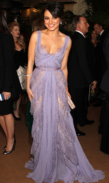 <strong>Mila Kunis in Elie Saab, 2011</strong><br><br>I love this feminine prom-dress look on Mila Kunis, mostly because it's such a contrast to her usual tomboy style. Often pictured in jeans and a tee sitting courtside at a basketball game, Mila was transformed on the red carpet in this lavender chiffon Elie Saab Haute Couture Spring 2011 gown. The delicate tiered lace detailing and grosgrain ribbon waist seemed like a subtle tribute to the transformation she had made onscreen that year, as a ballerina in <em>Black Swan</em>.<br><br><strong>Ava Baccari @HelloCanada<strong>