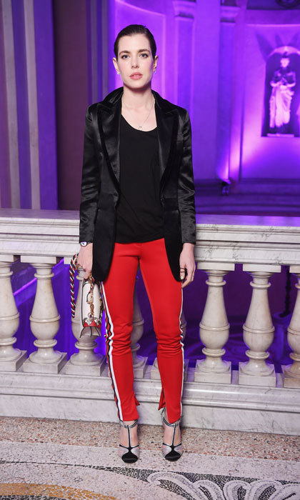 Charlotte Casiraghi made a stylish appearance wearing a red and black ensemble to a Gucci event.